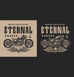monochrome bobber motorcycle label vector image
