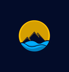 mountain sea ocean creative logo vector image