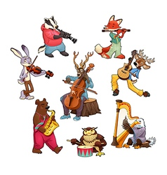 Musician cartoon animals vector image