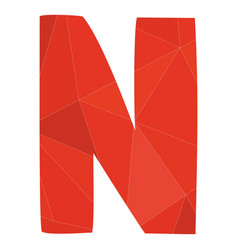 N red alphabet letter isolated on white background vector