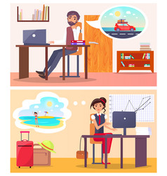 Office employees dream about summer travel set vector