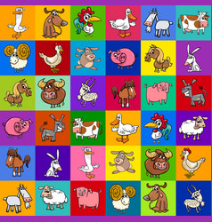 Pattern design with cartoon farm animals vector