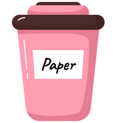 Pink large trash can with inscription vector