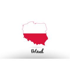poland country flag inside map contour design vector image