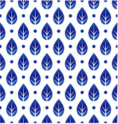 porcelain pattern with leaf vector image