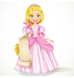 Princess holding blank sheet of parchment vector