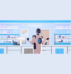 robotic doctor pharmacist standing at pharmacy vector image