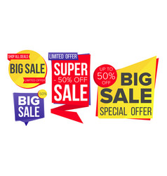 sale banner set discount tag special vector image