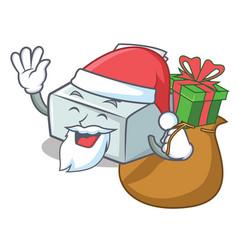 Santa with gift printer mascot cartoon style vector