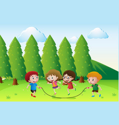 scene with children playing rope in park vector image