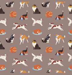 seamless pattern with cute dogs various breeds vector image