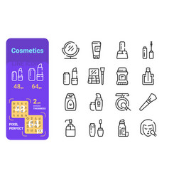 set cosmetics simple lines icons skin care and vector image