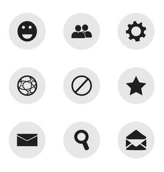 set of 9 editable web icons includes symbols such vector image