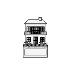 Silhouette house with two floors and balcony vector
