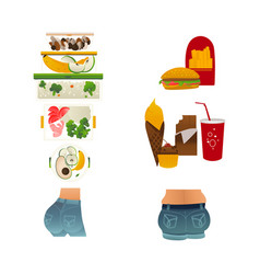 slim butt fresh food fat ass junk food vector image