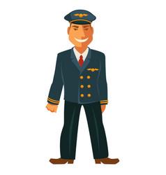 Smiling pilot in uniform vector