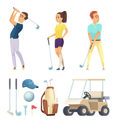 sport characters and various tools for golf vector image