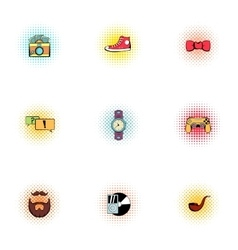 Subculture youth icons set pop-art style vector image