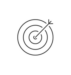target with an arrow inside linear icon vector image