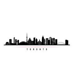toronto skyline horizontal banner black and white vector image