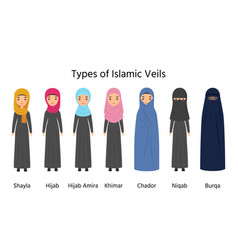 types hijab islamic women clothes vector image