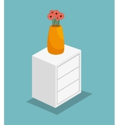 Vase on table icon vector