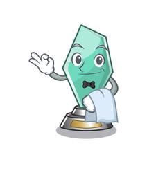 Waiter acrylic trophy mascot on a cartoon vector
