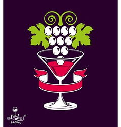 Winery theme Stylized half full martini gla vector