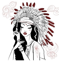 Young beautiful native american woman vector