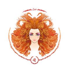 zodiac sign portrait a woman leo vector image