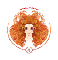 zodiac sign portrait of a woman leo vector image