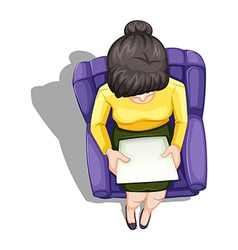 A topview of a woman reading while sitting down vector image vector image