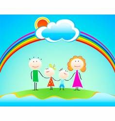 family under rainbow vector image vector image