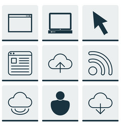 set of 9 web icons includes wifi save data vector image