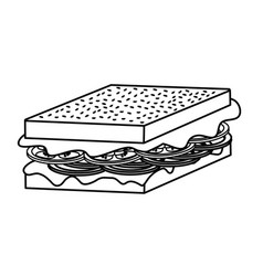 Line delicious sandwich fast food meal vector