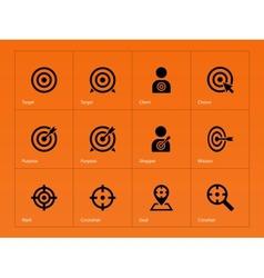 Target icons on orange background vector image