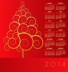 2014 Red Christmas Calander vector image