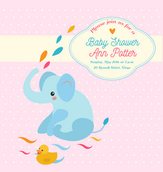 baby shower invitation card with elephant and vector image