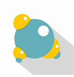 blue molecule icon flat style vector image vector image