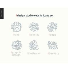 Design studio website icons set on white vector image vector image