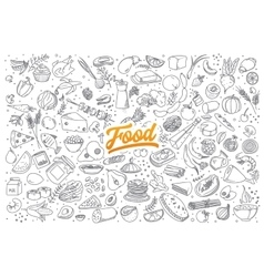 Food doodle set with lettering vector image