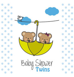 Twins baby shower bears vector image