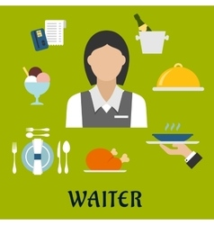 Waitress with restaurant utensil and food vector image vector image