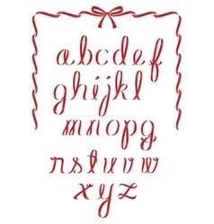 Christmas ribbon minuscules alphabet vector image vector image