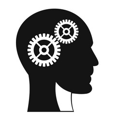 gears in human head icon simple style vector image vector image
