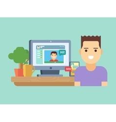 Online social communication vector image vector image