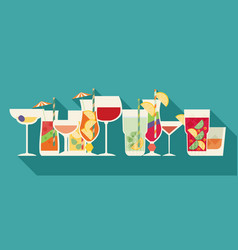 alcohol drinks and cocktails set in flat design vector image