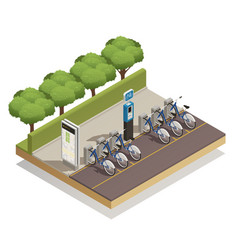 Bicycle rent isometric design concept vector