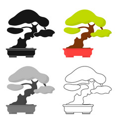 Bonsai icon in cartoon style isolated on white vector