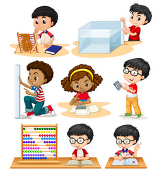 boys and girl doing math problems vector image